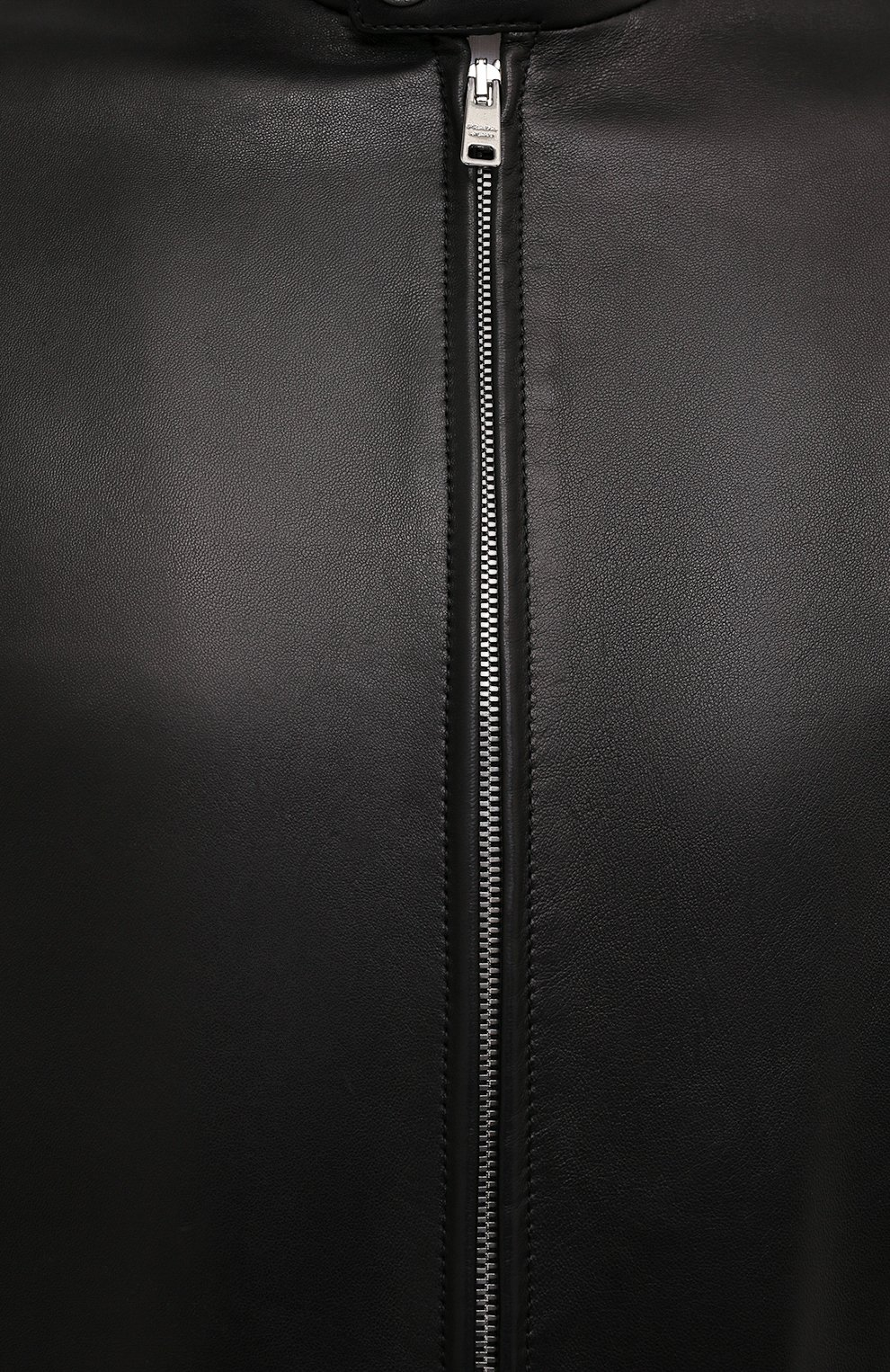 Мужская кожаная куртка PRADA черного цвета, арт. UPW226-1F21-F0002   Фото 5 (Кросс-КТ: Куртка; Рукава: Длинные; Мужское Кросс-КТ: Кожа и замша; Длина (верхняя одежда): Короткие; Стили: Кэжуэл)