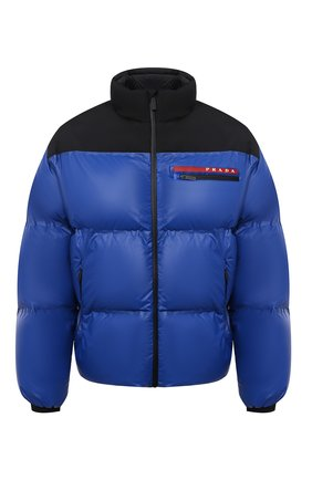 Мужская пуховая куртка PRADA синего цвета, арт. SGX257-1T2Y-F0ZVE-202   Фото 1