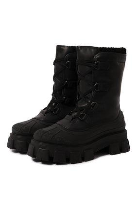 Мужские кожаные сапоги PRADA черного цвета, арт. 2UE014-3A6N-F0002-A000 | Фото 1