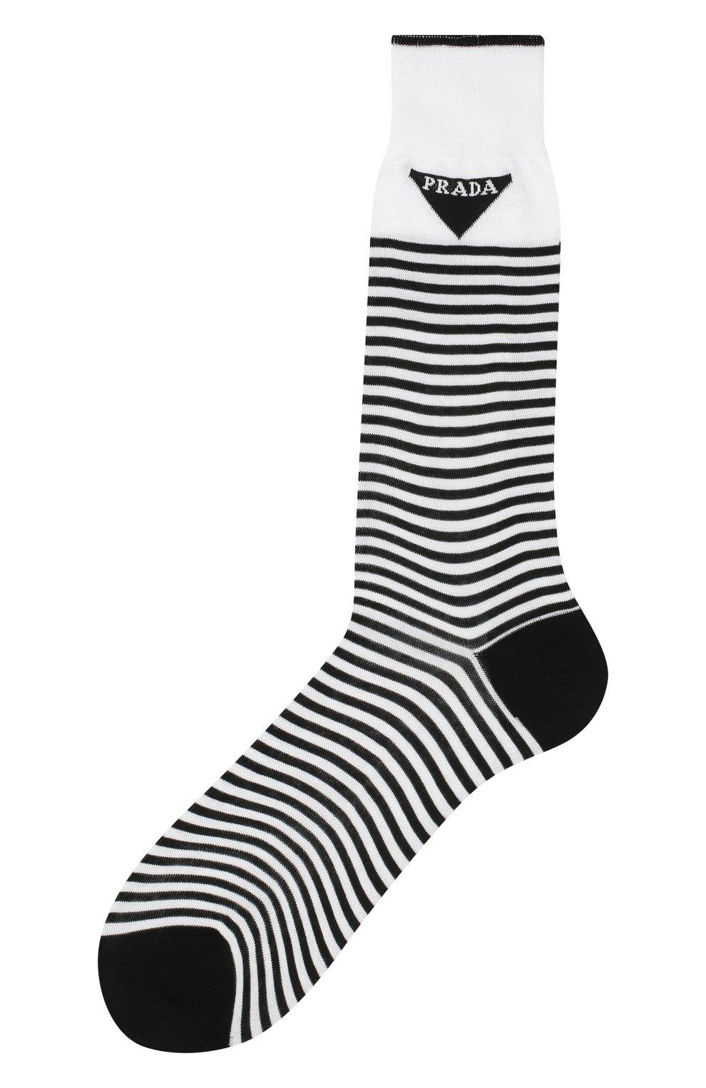 Детские хлопковые носки PRADA черно-белого цвета, арт. UCL732-793-F0964-202 | Фото 1 (Материал: Текстиль, Хлопок; Кросс-КТ: бельё)