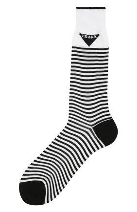 Детские хлопковые носки PRADA черно-белого цвета, арт. UCL732-793-F0964-202 | Фото 1