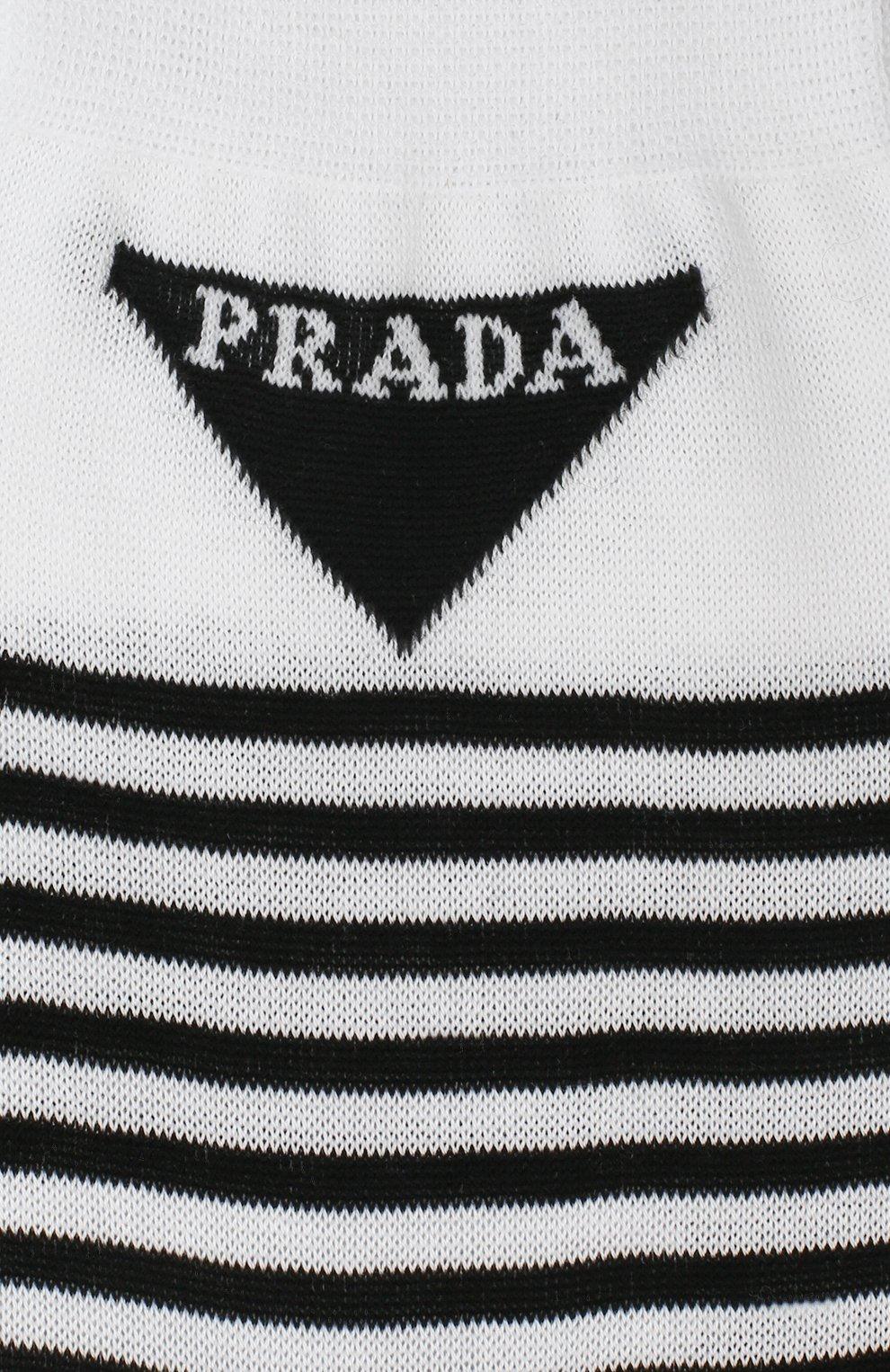 Детские хлопковые носки PRADA черно-белого цвета, арт. UCL732-793-F0964-202 | Фото 2 (Материал: Текстиль, Хлопок; Кросс-КТ: бельё)