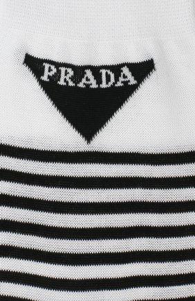 Детские хлопковые носки PRADA черно-белого цвета, арт. UCL732-793-F0964-202 | Фото 2