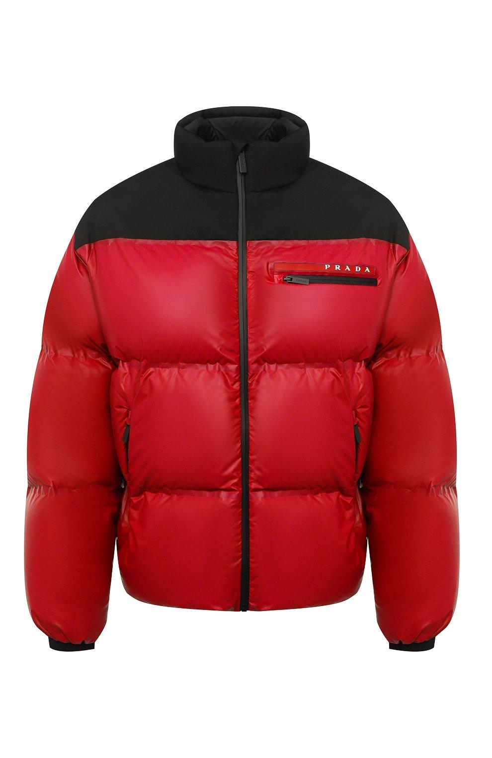 Мужская пуховая куртка PRADA красного цвета, арт. SGX257-1T2Y-F0927-202 | Фото 1 (Кросс-КТ: Куртка; Мужское Кросс-КТ: пуховик-короткий; Рукава: Длинные; Материал внешний: Синтетический материал; Длина (верхняя одежда): Короткие; Стили: Минимализм)