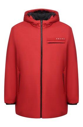 Мужская утепленная куртка PRADA красного цвета, арт. SGB660-1XYW-F0011-202 | Фото 1 (Кросс-КТ: Куртка; Мужское Кросс-КТ: пуховик-короткий; Рукава: Длинные; Материал внешний: Синтетический материал; Стили: Минимализм)