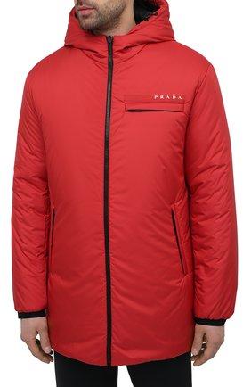 Мужская утепленная куртка PRADA красного цвета, арт. SGB660-1XYW-F0011-202 | Фото 3 (Кросс-КТ: Куртка; Мужское Кросс-КТ: пуховик-короткий; Рукава: Длинные; Материал внешний: Синтетический материал; Стили: Минимализм)