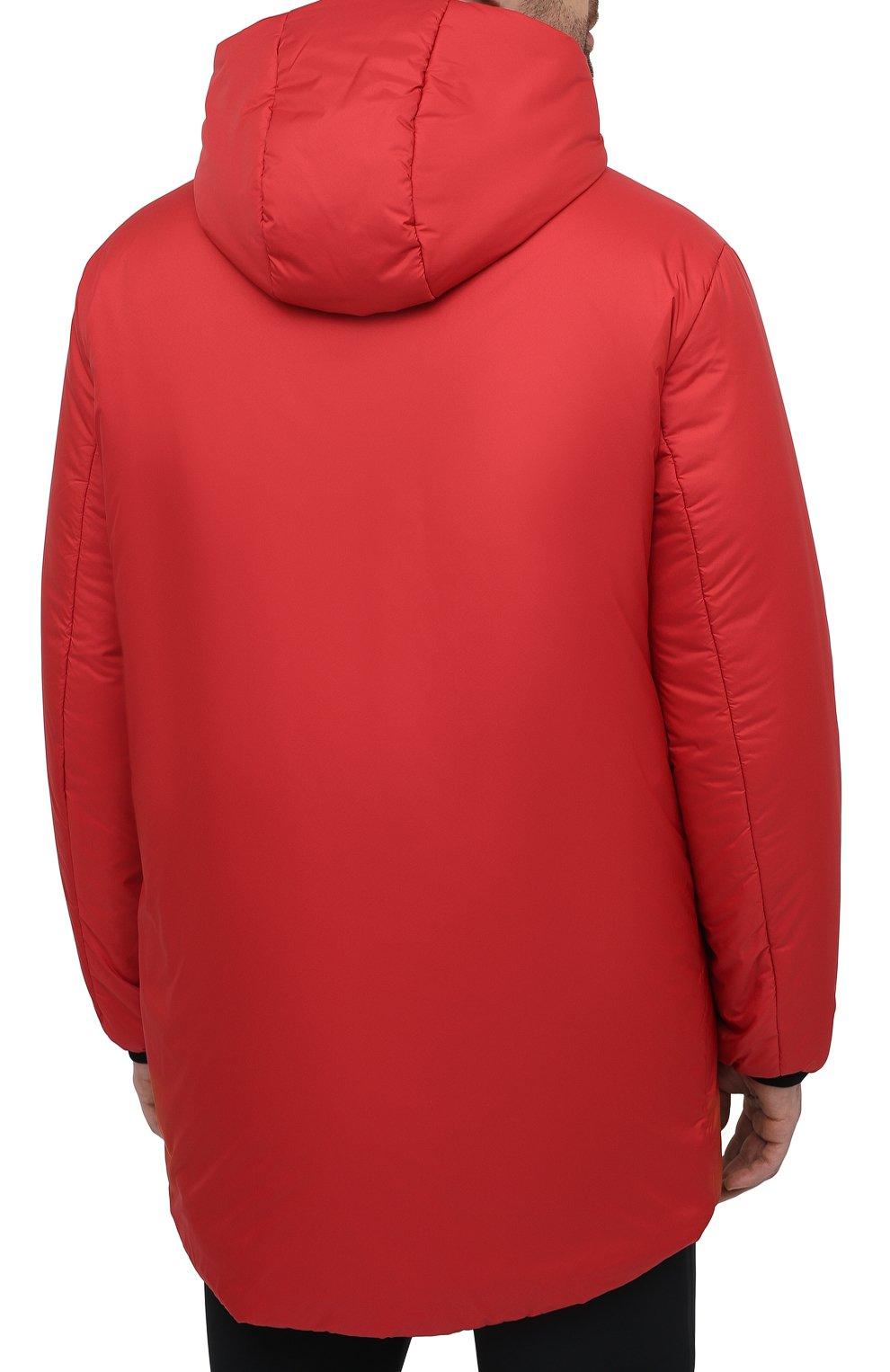 Мужская утепленная куртка PRADA красного цвета, арт. SGB660-1XYW-F0011-202 | Фото 4 (Кросс-КТ: Куртка; Мужское Кросс-КТ: пуховик-короткий; Рукава: Длинные; Материал внешний: Синтетический материал; Стили: Минимализм)