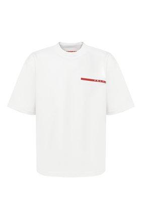 Мужская футболка PRADA белого цвета, арт. SJN273-LJ4-F0009-202 | Фото 1