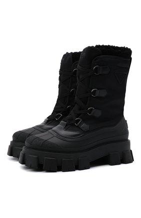 Мужские комбинированные сапоги PRADA черного цвета, арт. 2UE015-3LEO-F0002 | Фото 1