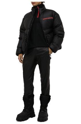 Мужские комбинированные сапоги PRADA черного цвета, арт. 2UE015-3LEO-F0002 | Фото 2