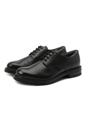 Мужские кожаные дерби PRADA черного цвета, арт. 2EF053-3F98-F0632-A000 | Фото 1