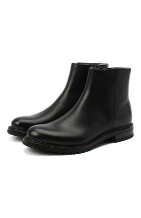 Мужские кожаные сапоги PRADA черного цвета, арт. 2TF030-3F98-F0632-A000 | Фото 1