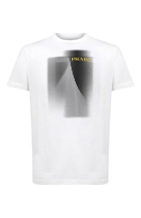 Мужская хлопковая футболка PRADA белого цвета, арт. UJN644-1YN0-F0009-192 | Фото 1