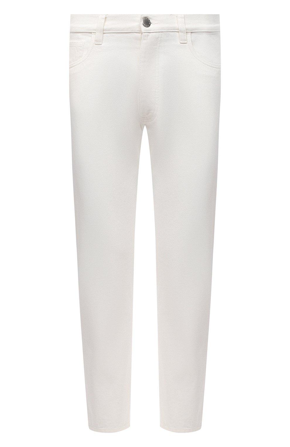 Мужские джинсы PRADA белого цвета, арт. GEP303-1UPA-F01CD-201   Фото 1 (Силуэт М (брюки): Прямые; Длина (брюки, джинсы): Стандартные; Материал внешний: Хлопок, Деним; Стили: Кэжуэл)