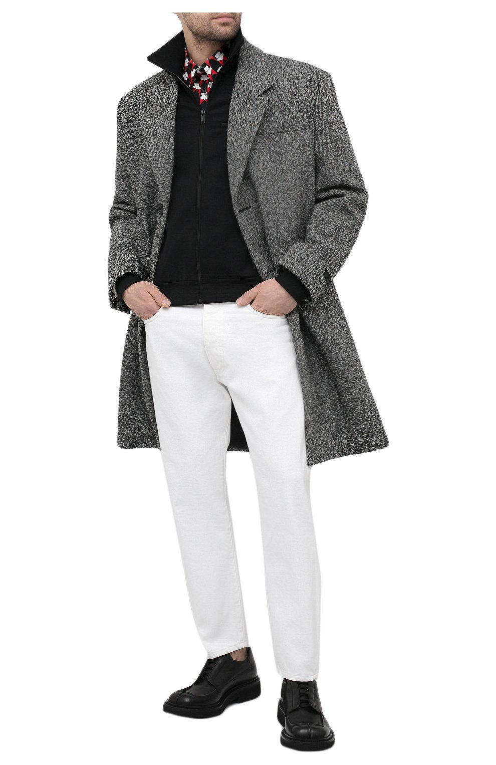 Мужские джинсы PRADA белого цвета, арт. GEP303-1UPA-F01CD-201   Фото 2 (Силуэт М (брюки): Прямые; Длина (брюки, джинсы): Стандартные; Материал внешний: Хлопок, Деним; Стили: Кэжуэл)
