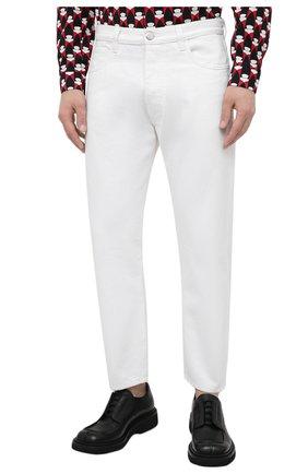 Мужские джинсы PRADA белого цвета, арт. GEP303-1UPA-F01CD-201   Фото 3 (Силуэт М (брюки): Прямые; Длина (брюки, джинсы): Стандартные; Материал внешний: Хлопок, Деним; Стили: Кэжуэл)