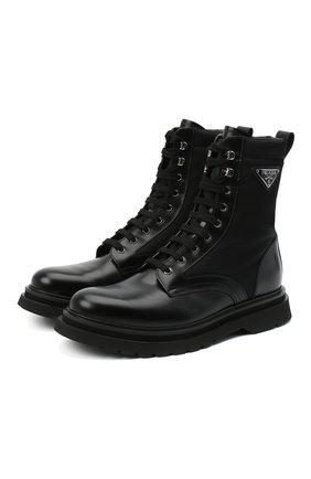 Мужские комбинированные ботинки PRADA черного цвета, арт. 2UE011-3L09-F0002   Фото 1