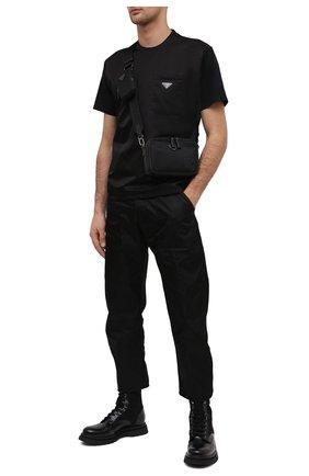 Мужские комбинированные ботинки PRADA черного цвета, арт. 2UE011-3L09-F0002   Фото 2