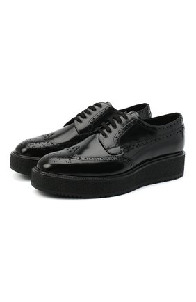 Мужские кожаные дерби PRADA черного цвета, арт. 2EG015-P39-F0002-X020 | Фото 1 (Мужское Кросс-КТ: Броги-обувь; Стили: Классический)