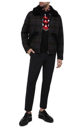 Мужские кожаные дерби PRADA черного цвета, арт. 2EG015-P39-F0002-X020 | Фото 2 (Мужское Кросс-КТ: Броги-обувь; Стили: Классический)