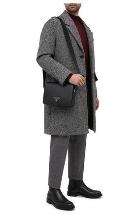 Мужская кожаная сумка PRADA черного цвета, арт. 2VD038-2FAD-F0002-OOO | Фото 2
