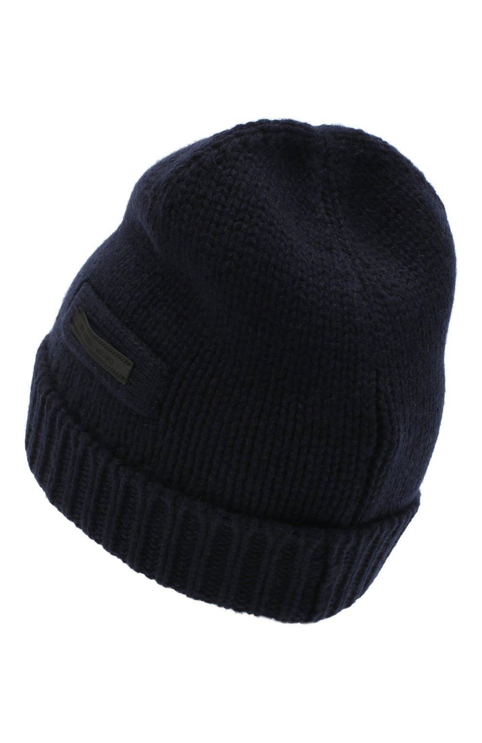 Мужская кашемировая шапка PRADA синего цвета, арт. UMD448-1KVZ-F0008-202   Фото 2