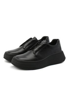 Мужские кожаные дерби PRADA черного цвета, арт. 2EG312-B4L-F0002 | Фото 1