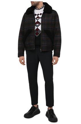 Мужской кожаные дерби PRADA черного цвета, арт. 2EG312-B4L-F0002 | Фото 2