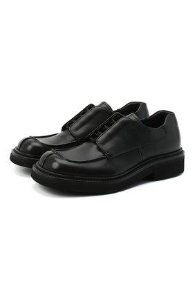 Мужские кожаные дерби PRADA черного цвета, арт. 2EG311-248-F0002   Фото 1