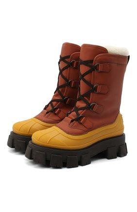 Мужские кожаные сапоги PRADA коричневого цвета, арт. 2UE014-3A6N-F0352-A000 | Фото 1