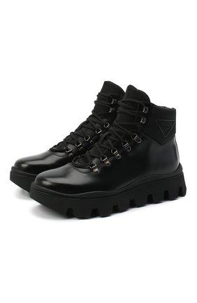 Мужские кожаные ботинки PRADA черного цвета, арт. 2TE170-3KZP-F0002-G000 | Фото 1
