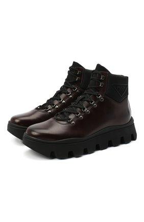Мужские кожаные ботинки PRADA коричневого цвета, арт. 2TE170-3LDP-F0882-G000 | Фото 1