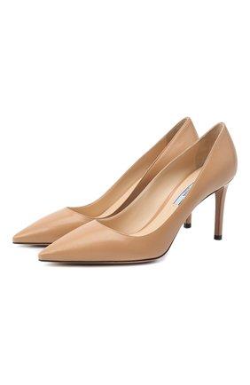 Женские кожаные туфли PRADA бежевого цвета, арт. 1I834I-011-F0A48-085   Фото 1 (Подошва: Плоская; Каблук высота: Высокий; Каблук тип: Шпилька)