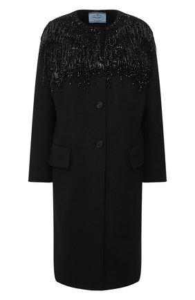 Женское шерстяное пальто PRADA черного цвета, арт. P670NR-1X8G-F0806-202   Фото 1