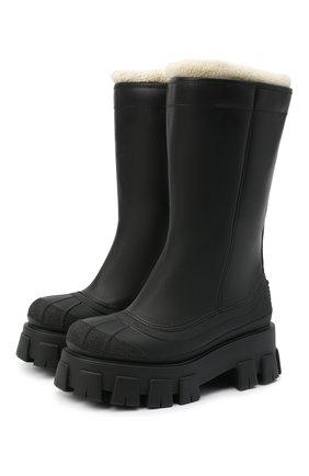 Женские кожаные сапоги monolith PRADA черного цвета, арт. 1W380M-3A6N-F0889-ZF55 | Фото 1 (Высота голенища: Средние; Подошва: Платформа; Каблук высота: Средний; Материал внешний: Шерсть; Каблук тип: Устойчивый)