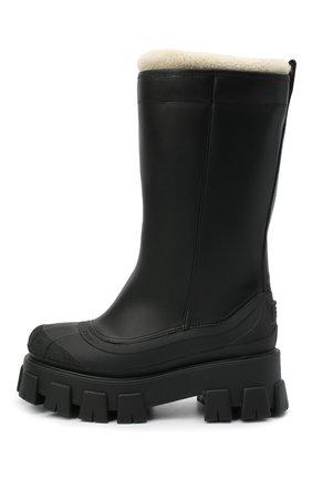 Женские кожаные сапоги monolith PRADA черного цвета, арт. 1W380M-3A6N-F0889-ZF55 | Фото 2 (Высота голенища: Средние; Подошва: Платформа; Каблук высота: Средний; Материал внешний: Шерсть; Каблук тип: Устойчивый)