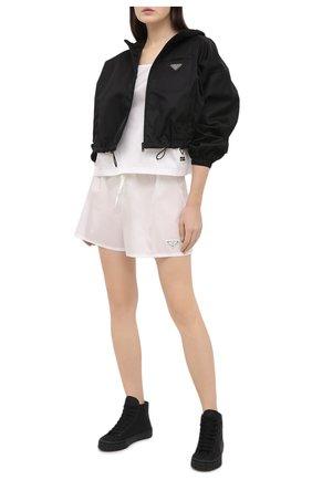 Женские текстильные кеды prada wheel PRADA черного цвета, арт. 1T498M-1YFL-F0002-035 | Фото 2