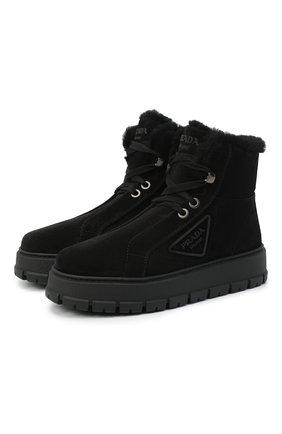 Женские замшевые ботинки PRADA черного цвета, арт. 1T492M-JFT-F0002-ZF45 | Фото 1