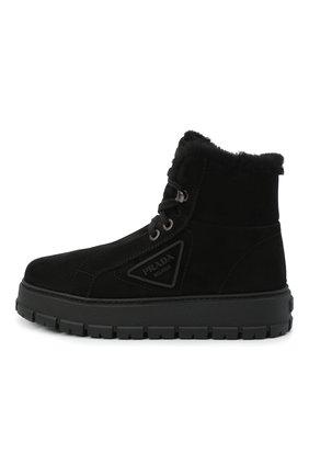 Женские замшевые ботинки PRADA черного цвета, арт. 1T492M-JFT-F0002-ZF45 | Фото 2