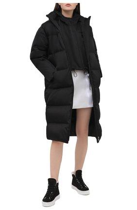 Женские замшевые кеды PRADA черного цвета, арт. 1T508M-JFT-F0889-ZF35 | Фото 2 (Подошва: Платформа; Материал внешний: Шерсть, Замша; Кросс-КТ: хайтопы)