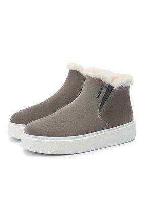 Женские замшевые ботинки PRADA серого цвета, арт. 1T485M-JFT-F00M4-ZF45 | Фото 1 (Женское Кросс-КТ: Зимние ботинки; Материал внешний: Шерсть, Замша; Подошва: Платформа)