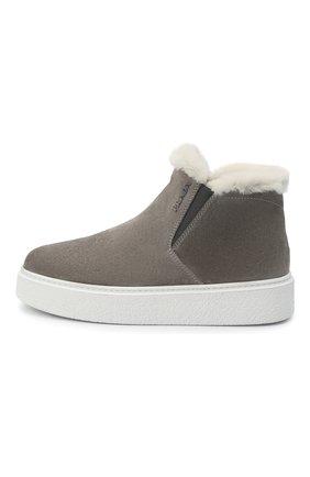 Женские замшевые ботинки PRADA серого цвета, арт. 1T485M-JFT-F00M4-ZF45 | Фото 2 (Женское Кросс-КТ: Зимние ботинки; Материал внешний: Шерсть, Замша; Подошва: Платформа)