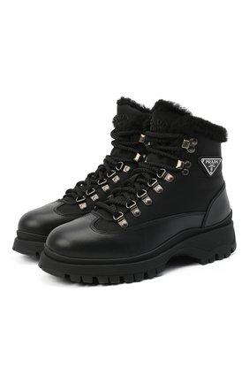 Женские комбинированные ботинки brixxen PRADA черного цвета, арт. 1T495M-3LEL-F0002-ZF30 | Фото 1