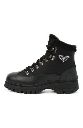 Женские комбинированные ботинки brixxen PRADA черного цвета, арт. 1T495M-3LEL-F0002-ZF30 | Фото 2