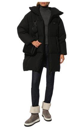 Женские замшевые сапоги PRADA серого цвета, арт. 1T502M-JFT-F00M4-ZF45 | Фото 2