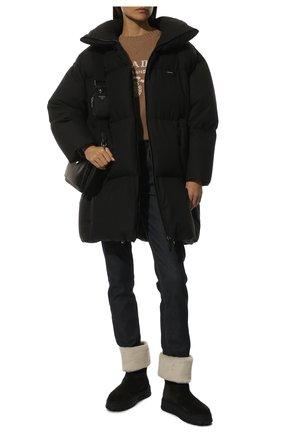Женские замшевые сапоги PRADA черного цвета, арт. 1T502M-JFT-F0889-ZF45   Фото 2 (Высота голенища: Средние; Каблук высота: Без каблука; Каблук тип: Устойчивый; Материал внешний: Шерсть, Замша; Подошва: Платформа)