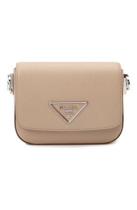 Женская сумка PRADA бежевого цвета, арт. 1BD249-2ERX-F0770-OO6   Фото 1 (Размер: mini; Материал: Натуральная кожа; Ремень/цепочка: На ремешке; Сумки-технические: Сумки через плечо)