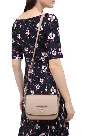 Женская сумка PRADA бежевого цвета, арт. 1BD249-2ERX-F0770-OO6   Фото 2 (Размер: mini; Материал: Натуральная кожа; Ремень/цепочка: На ремешке; Сумки-технические: Сумки через плечо)