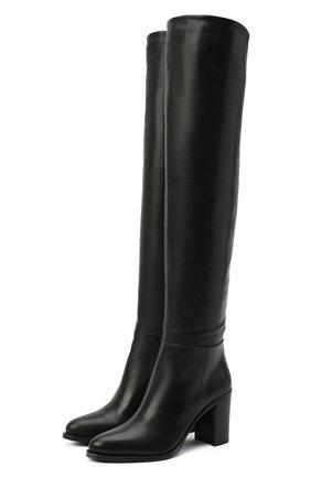 Женские кожаные ботфорты PRADA черного цвета, арт. 1W273M-3LBM-F0002-085 | Фото 1