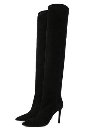 Женские замшевые ботфорты PRADA черного цвета, арт. 1W391M-008-F0002-085 | Фото 1